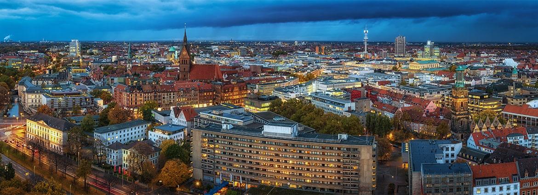 Skyline von Hannover bei Regen